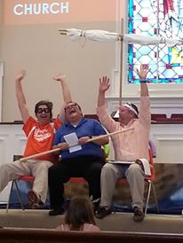 "John, Curtiss, and Mark on the ""roller coaster"" at Hilton Terrace Baptist Church!"
